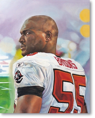 oil painting of Keyshawn Johnson